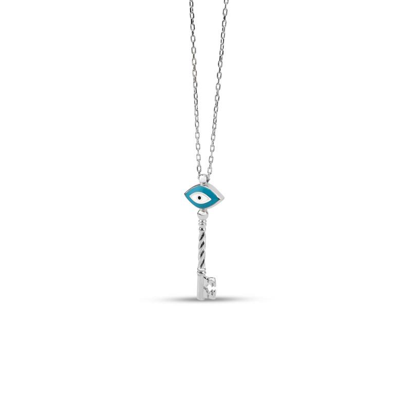 Anahtar Figürlü Turkuaz Mineli Göz Gümüş Kolye