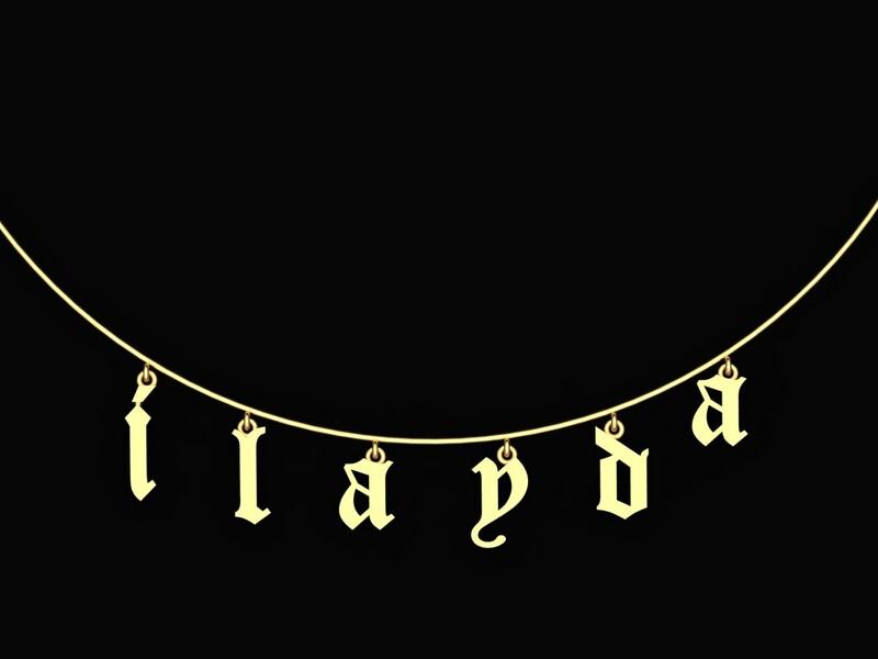 Gothic Harf Gümüş İsimli Kolye