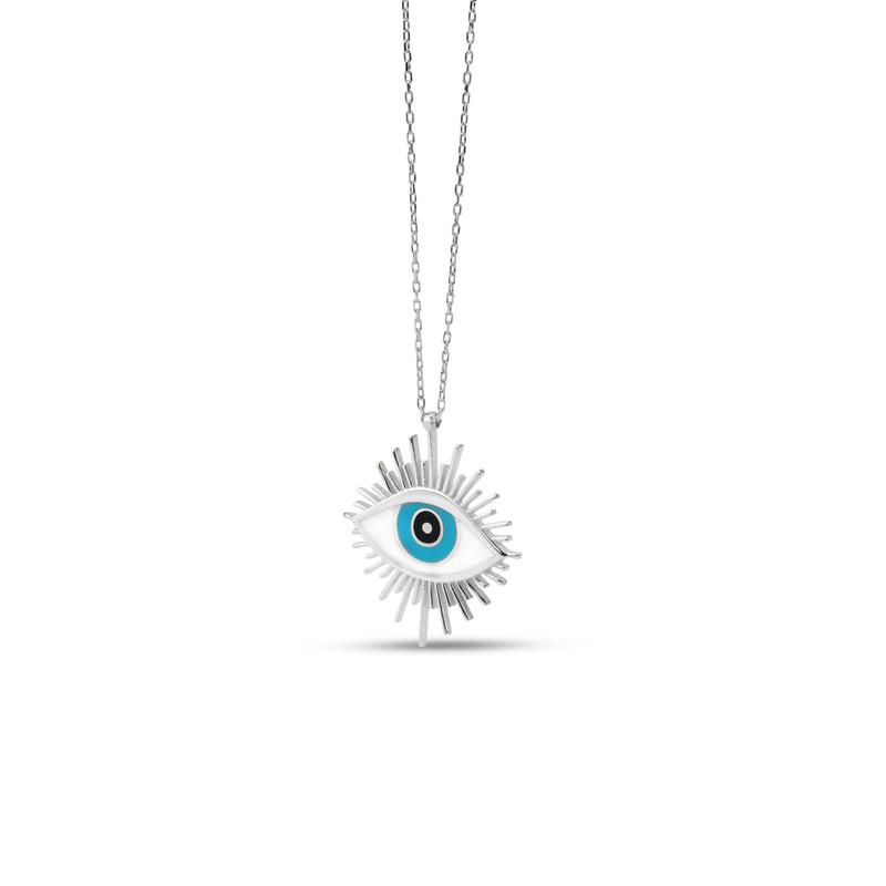 Güneş Figürlü Beyaz Mineli Göz Gümüş Kolye