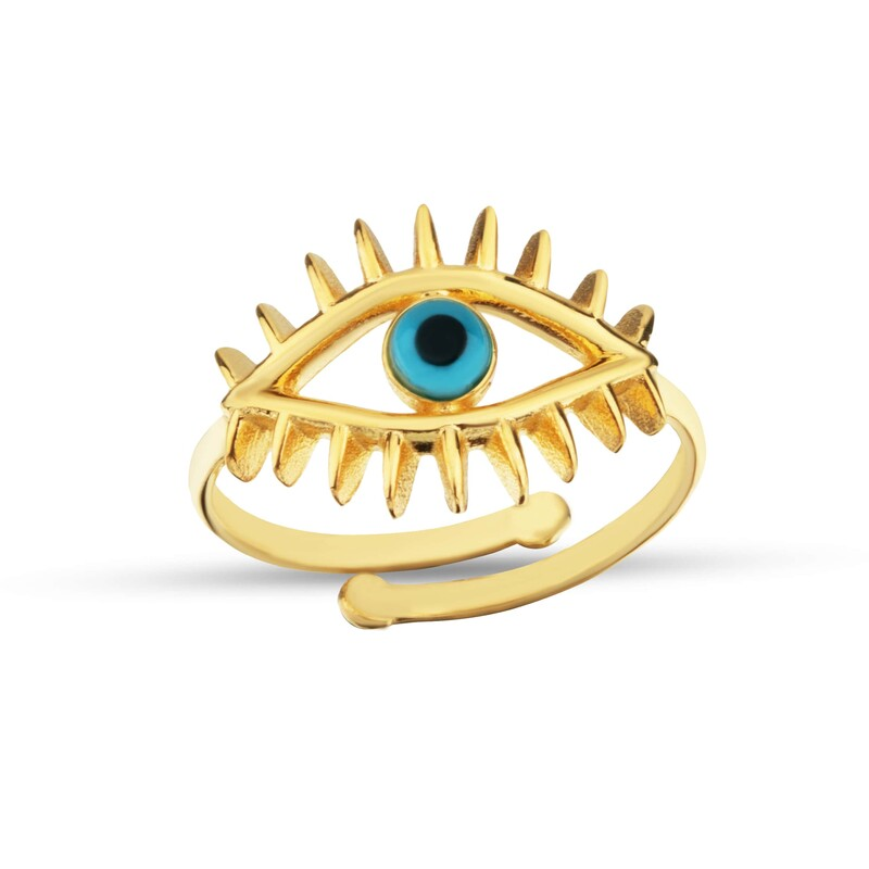 İnce Kirpikli Göz Gümüş Yüzük