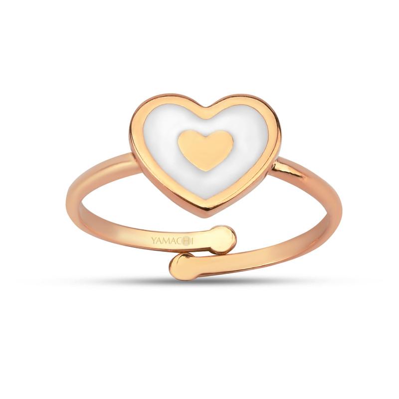 Kalp Figürlü Beyaz Mineli Gümüş Yüzük