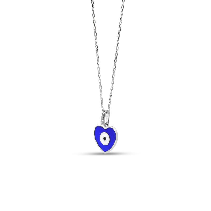 Kalp Figürlü Lacivert Mineli Göz Gümüş Kolye
