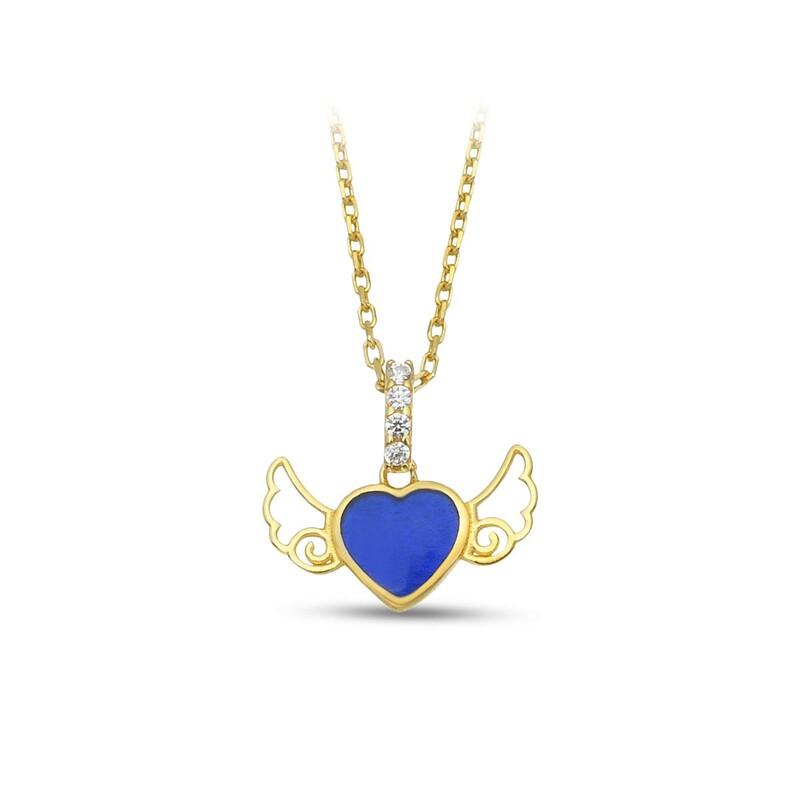 Kanatlı Kalp Mini Gümüş Kolye