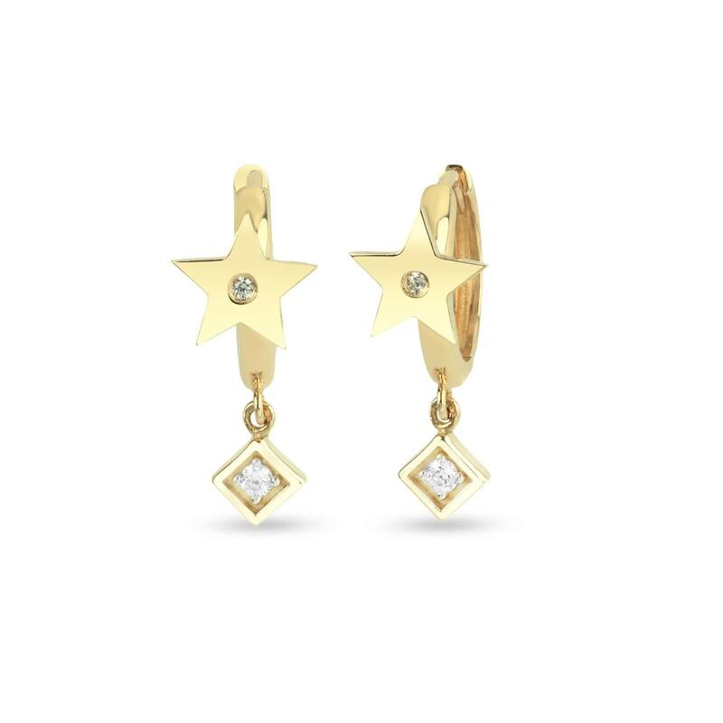 Kare Sallantılı Yıldız Huggy Gümüş Küpe