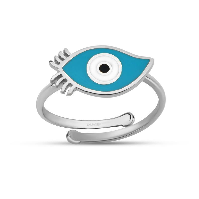 Kirpikli Turkuaz Mineli Göz Gümüş Yüzük