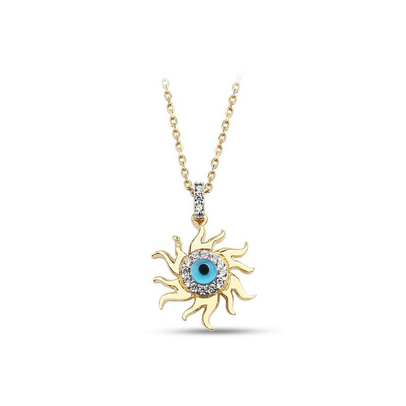 Mini Güneş Göz Gümüş Kolye