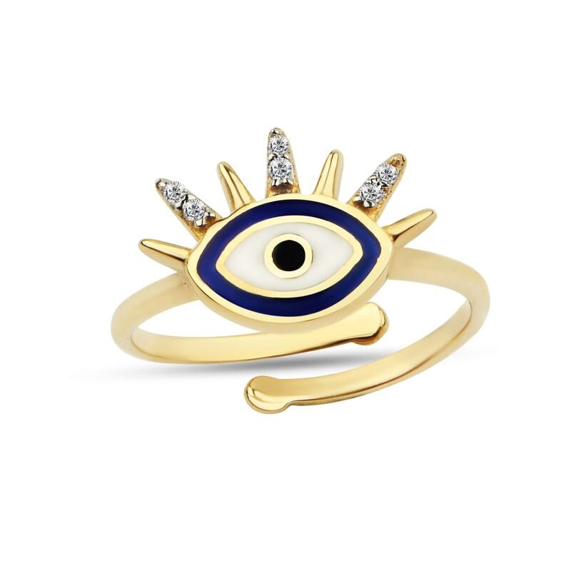 Mini Kirpikli Göz Gümüş Yüzük