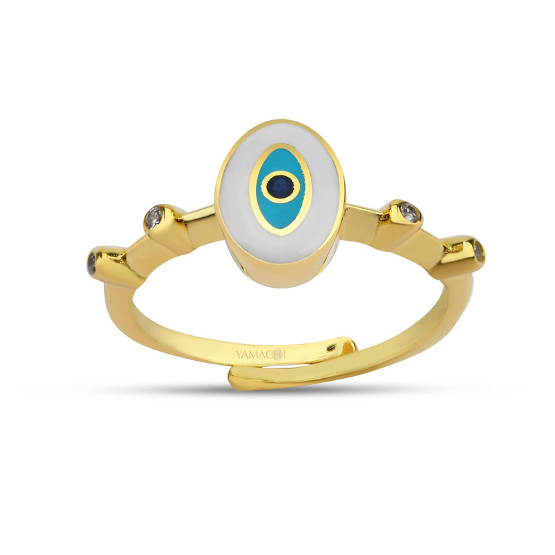 Oval Beyaz Mineli Göz Gümüş Yüzük