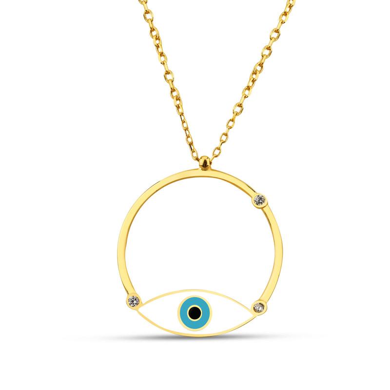 Özel Tasarım Beyaz Mineli Göz Gümüş Kolye