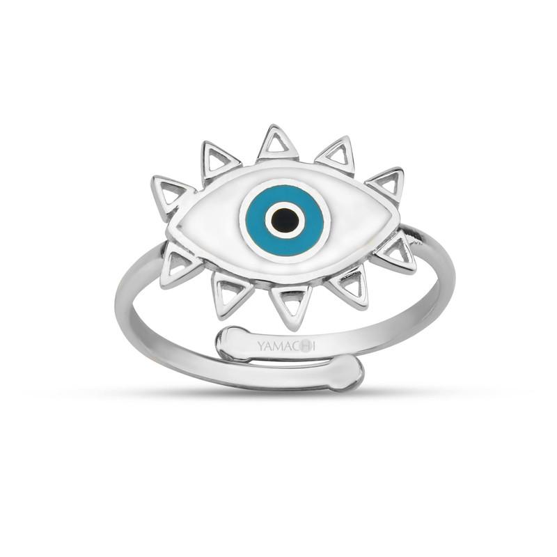 Özel Tasarım Beyaz Mineli Göz Gümüş Yüzük