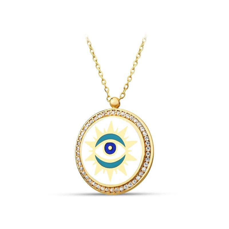Özel Tasarım Güneş Figürlü Göz Gümüş Kolye