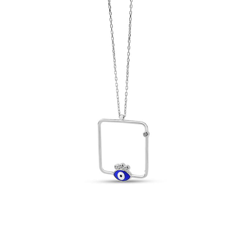 Özel Tasarım Lacivert Mineli Göz Gümüş Kolye