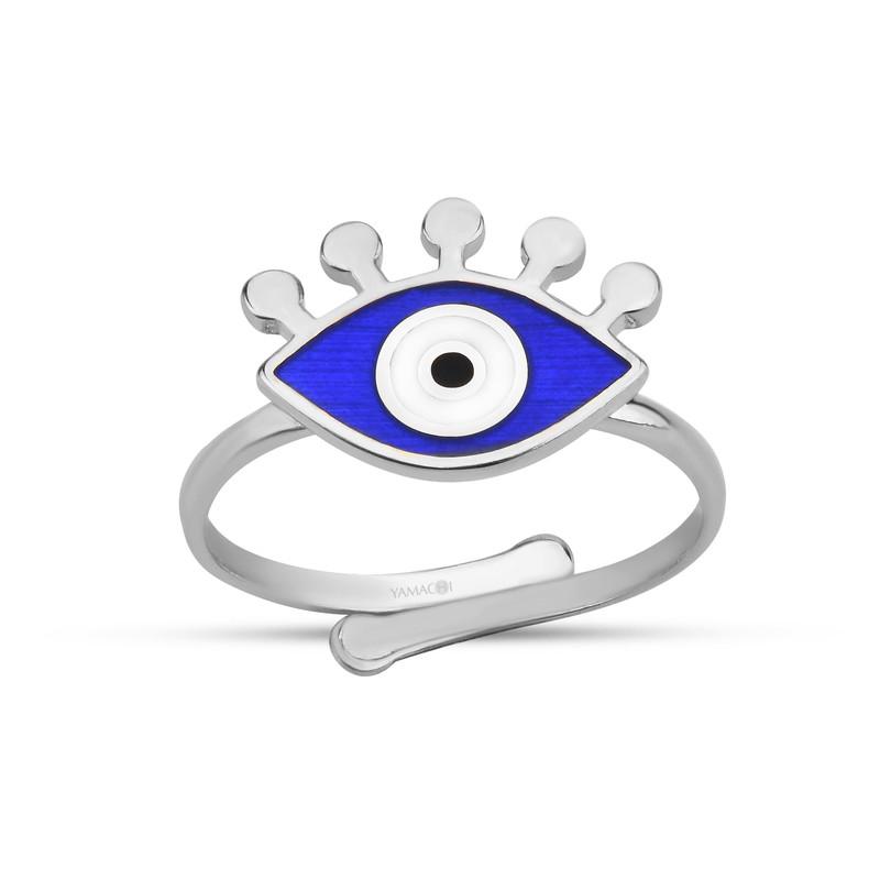 Özel Tasarım Lacivert Mineli Göz Gümüş Yüzük