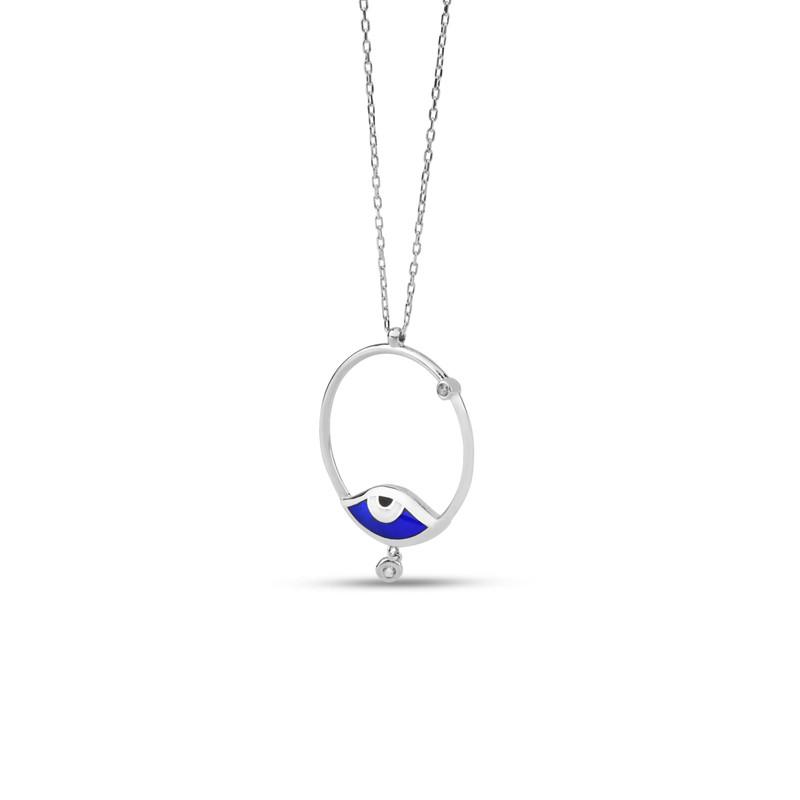 Özel Tasarım Taş Sallantılı Lacivert Göz Gümüş Kolye