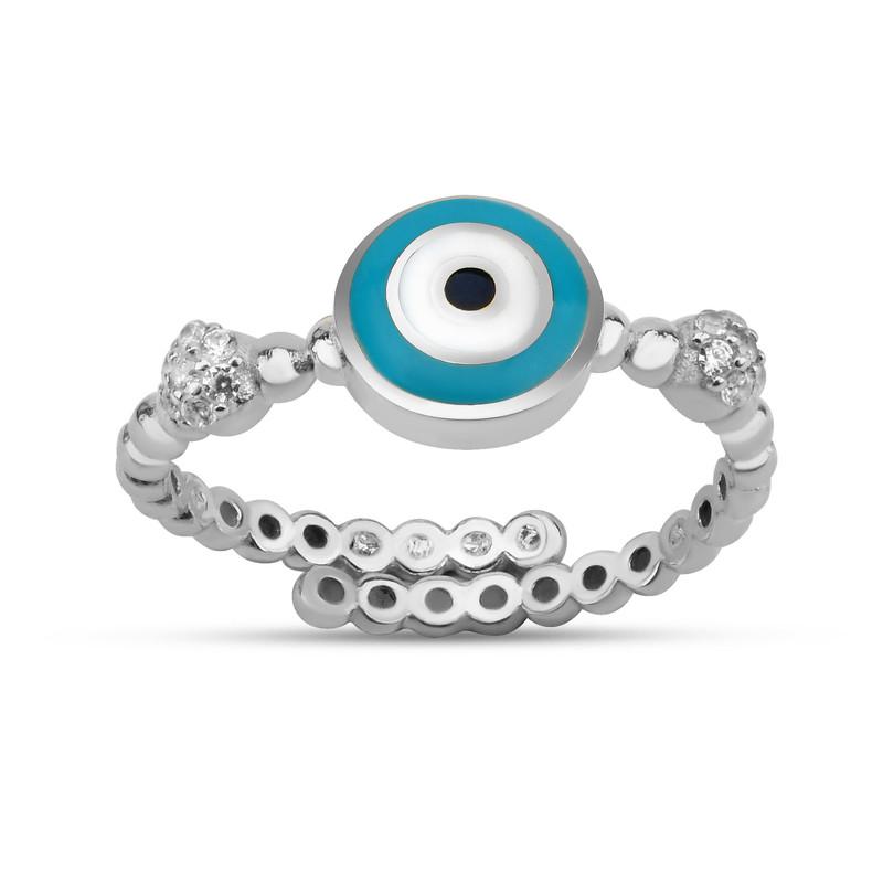 Özel Tasarım Turkuaz Mineli Göz Gümüş Yüzük