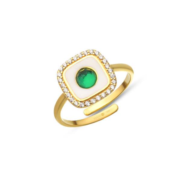 Yeşil Taşlı Gümüş Yüzük